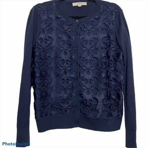 Ann Taylor Loft Navy Blue Cut Out Lace Cardigan